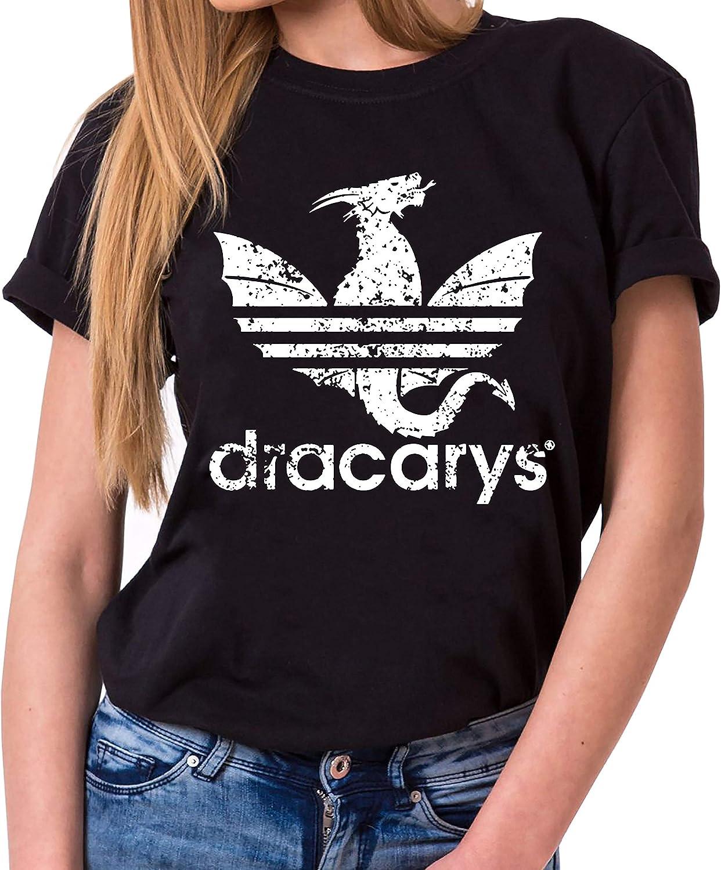Dracarys Dragon - Camiseta para Mujer de Cuello Redondo Targaryen Thrones Game of Stark Lannister Baratheon Daenerys Khaleesi TV BLU-Ray DVD