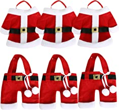 6PC Santa Suit Xmas Table Placements Festive Cutlery Holders Candy Stocking TRIXES