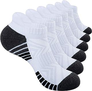 PULIOU Trainer Socks Running Sports Socks 6 Pairs Anti Blister Mens Socks Cushioned Cotton Athletic Socks for Men Women La...