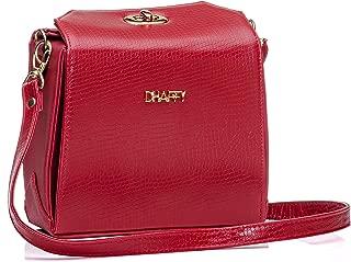 Bolsa Feminina Dhaffy Vermelho, Alça Trasnversal, Divisórias e Fecho cor:vermelho;tamanho:P