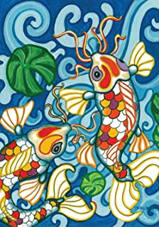 Toland Home Garden Coy Koi 12.5 x 18 Inch Decorative Colorful Japanese Fish Pond Design Garden Flag