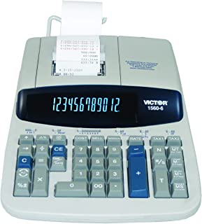 Victor 1560-6 12 Digit Heavy Duty Commercial Printing Calculator with Large Display and Loan Wizard