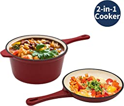 Enameled Cast Iron 2-In-1 Multi-Cooker, AIDEA 2-Quart Skillet and Lid Set, Cast Iron Saucepan - Non-Stick Anti-Rust Ceramic Dutch Oven Pot Frying Pan for Chef Kitchen Restaurant -Red