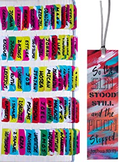 Neon Brushes Theme Laminated Bible Tabs (Large Print, Easy to Read), Personalized Bible Journaling Supplies, 120 Bible Ind...