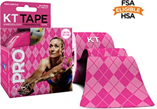 KT Tape Pro Kinesiology Therapeutic Sports Tape, 20 Precut 10 inch Strips, Latex Free, Water Resistance, Pro & Olympic Choice, Pink Argyle