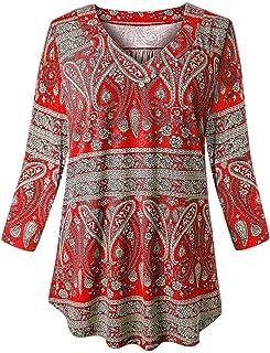 Women Plus Size Tunic V Neck 3/4 Sleeve Blouses Floral Shirts XL-4XL