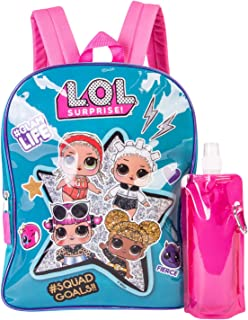 L.O.L. Surprise Backpack Combo Set - Girls' 3 Piece Backpack Set - L.O.L. Surprise Backpack, Waterbottle & Carabina (Pink/Black)