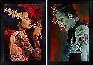 Frankenstein & Bride by Mike Bell Tattoo Monster Set of 2 Framed Wall Art Prints