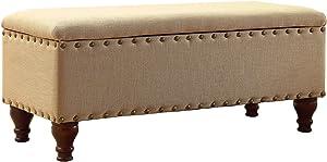 HomePop Linen Oversized Storage Bench with Nail Head Trim, Tan Linen