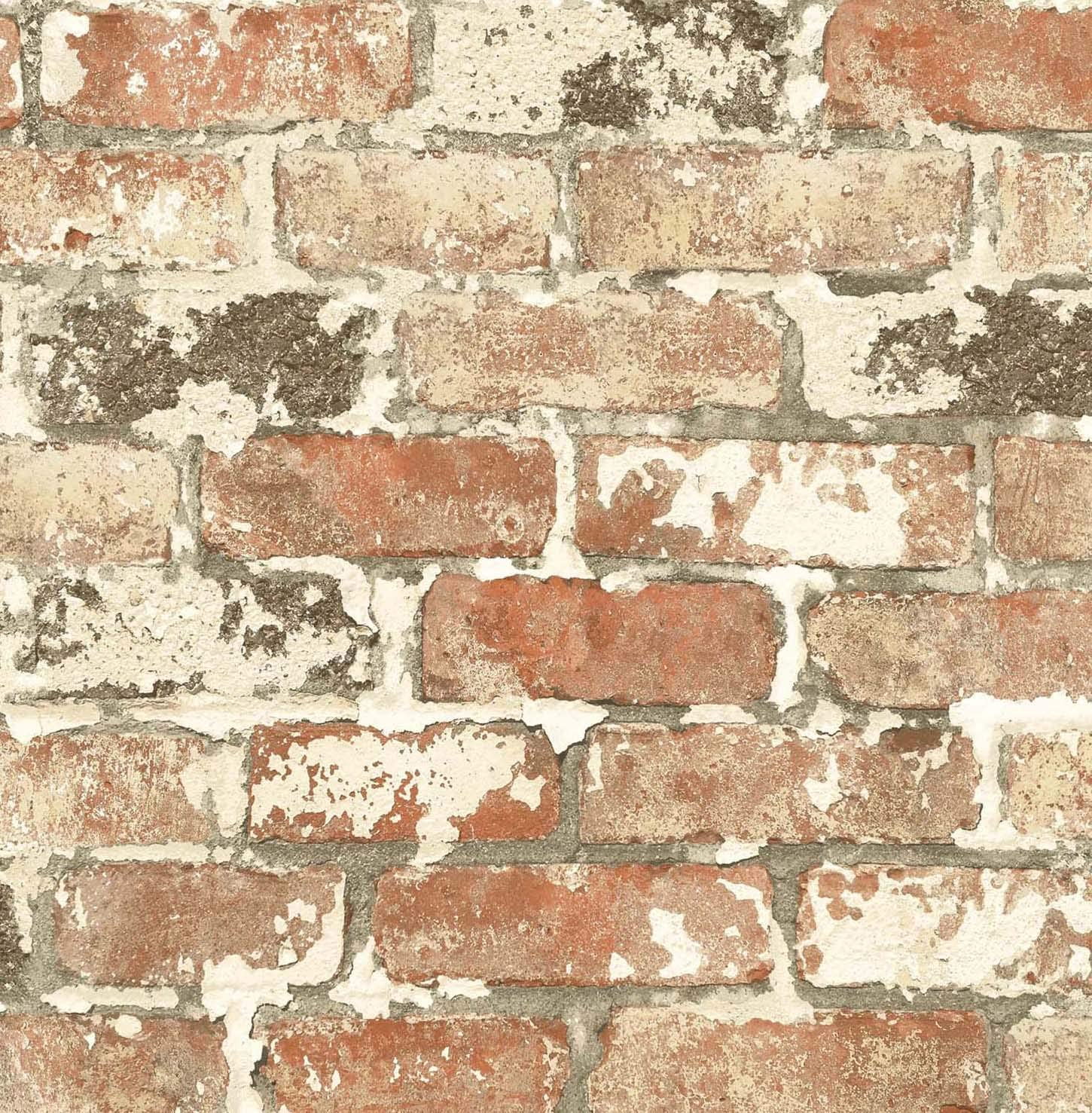 Antique White Painted Brick Mural \u2022 Peel /'n Stick or Traditional PrePasted Ships FREE!