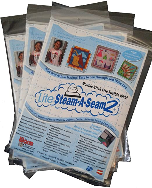 Warm Company Steam-A-Seam Lite 2 Double Stick Fusible Web 9 x 12 Inches 5 Sheets each 2 Pack