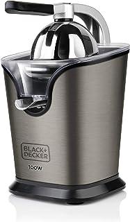 BLACK+DECKER BXCJ100E - Presse agrumes électrique levier professionnel 100W, Inox, 650ml, coulée continue, système anti-go...