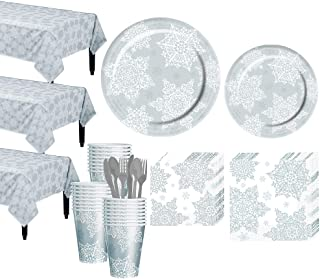 Party City Shining Season Tableware Kit for 50 Guests, Christmas Party Supplies, Includes 3 Table Covers