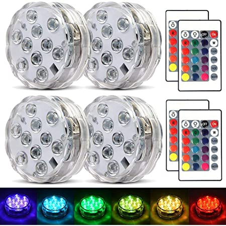 Funien RGB Submersible Light,Mini LEDs RGB Submersible Light Colorful Lamp Underwater Candle Light IP68 Water Resistance with Remote Control 2pack