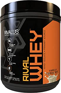 Rivalus Rivalwhey – Vanilla Cereal 1lb - 100% Whey Protein, Whey Protein Isolate Primary Source, Clean Nutritional Profile, BCAAs, No Banned Substances, Made in USA