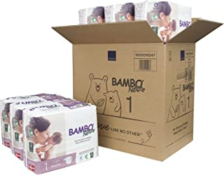 Bambo Nature Eco Friendly Premium Baby Diapers for Sensitive Skin, Size 1 (4-11 lbs), 168 Count (6 Packs of 28)