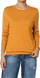 Button Long Sleeve Crew Neck Boyfriend Fit Knit Sweater Pullover Top