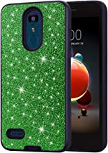 LG Aristo 2/Aristo 2 Plus/Tribute Dynasty/Rebel 3 LTE/Zone 4/Fortune 2/Rebel 4/K8 Plus/Risio 3 Case, Ankoe Glitter Sparkle Hard Cover with Dual-Layer Shockproof Protective Armor Phone Case (Green)