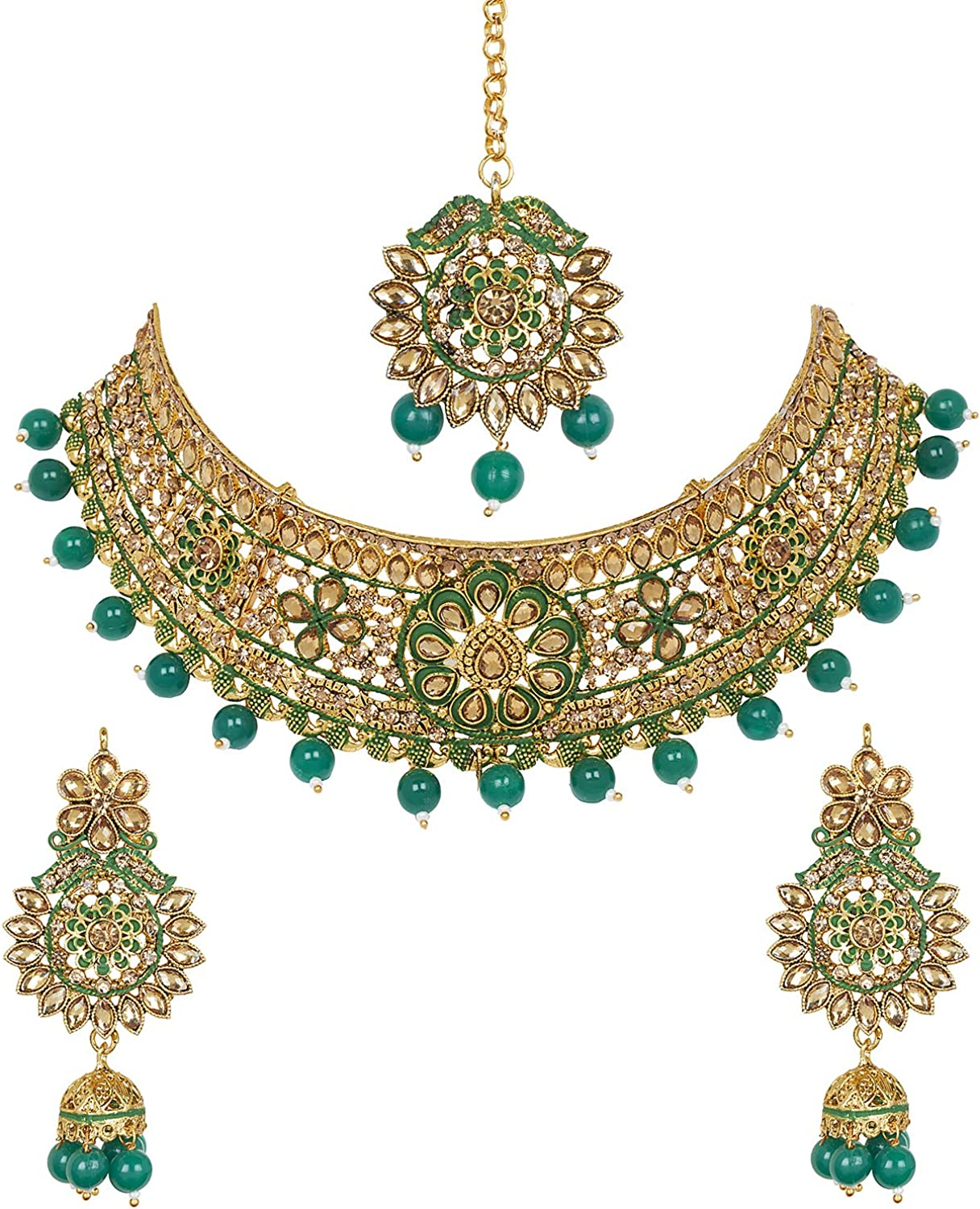 bodha Traditional Indian 18K Antique Gold Plated One Gram Bridal Jewellery Combo Necklace Set with Tikka and Earrings for Women (SJ_2882_G)