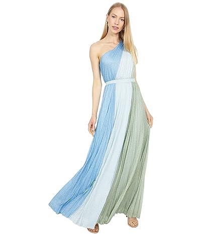 BCBGMAXAZRIA One Shoulder Pleated Metallic Gown
