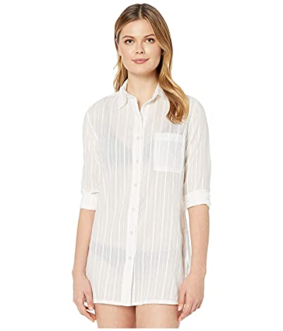 LAUREN Ralph Lauren Stripe Cover-Ups Stripe Camp Shirt (Gold/White) Women