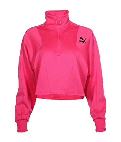 PUMA Tailored For Sport Cropped 1/2 Zip (Fluo Pink) Women