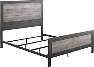 Walker Edison Furniture Company Rustic Farmhouse Wood Queen Metal Bed Headboard Footboard Frame Bedroom, Grey Wash