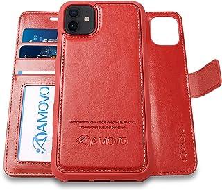 AMOVO iPhone 12 mini 用 ケース 手帳型 分離式 取り外し自由 ワイヤレス充電に対応 カード収納 横開き スタンド機能 アイフォン 12 ミニ 用 手帳カバー (赤)