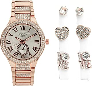 Mother's Day Feminine Style Meets Ultra Luxury with This Love Theme Ladies Jewelry Set - Shiny Crystal Bling Watch with Beautiful 3pcs Heart, Love and Stud Earrings - ST10084