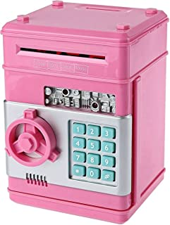 ufengke Password Piggy Bank Digital Electronic Money Bank Mini ATM Cash Coin Saving Can Toys Birthday Gifts for Kids Pink Silver