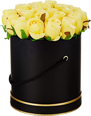 Fourwalls Artificial Rose Flowers in a Box for Valentines Day Gift (21 Flower in Box, 22 cm Tall, Black and Yellow)