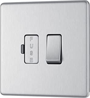BG Electrical Screwless Flat Plate Switched Fused Connection Unit, Brushed Steel, 13 Amp