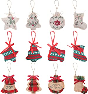 12 Pieces Christmas Tree Ornaments Rustic Xmas Hanging Decorations Burlap Christmas Ornaments for Christmas Holiday Party Decoration