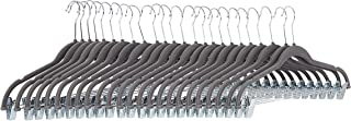 comprar comparacion AmazonBasics - Perchas de terciopelo para faldas con clips, color gris oscuro, 24 unidades