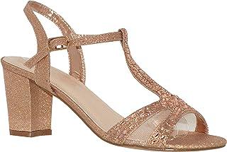 fb18b64b5 MVE Shoes Women's T Strap Open Toe - Rhinestone Block Heel - Sparkle Party  Sandal -