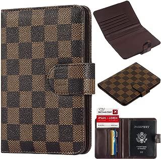 Luxury Passport Holder Cover Wallet case RFID Blocking Leather Card Case Travel Document Organizer (Brown)