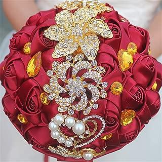 MOJUN Romantic Customization Bride Wedding Holding Bouquet Ribbon Roses Bouquet Pearl Gold Diamond Rhinestone Decor(Dia:24cm, Burgundy)