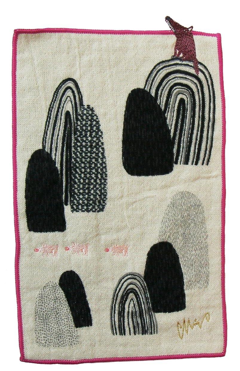 頬骨アラームカートリッジ楠橋紋織 ハンドタオル パープル 約15.5cm×25cm MiW 小さなポケットハンカチ トオボエオオカミ A-64791-86-PAP