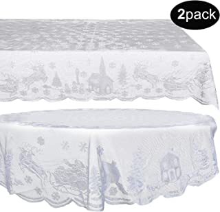 2 Pieces Christmas Lace Tablecloth Christmas Reindeer Snowflake White Table Covers, Including 70 x 52 Inch Lace Rectangle Tablecloth and 70 Inch Round Lace Table Cover for Christmas Home Decoration