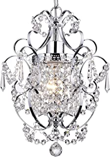 Riomasee Mini Chandelier Crystal Chandeliers Lighting 1-Light Modern Elegant Crystal Iron Ceiling Light Fixture for Bedroom,Bathroom,Girls Room Chrome