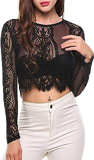 Best long sleeve black lace crop top Reviews