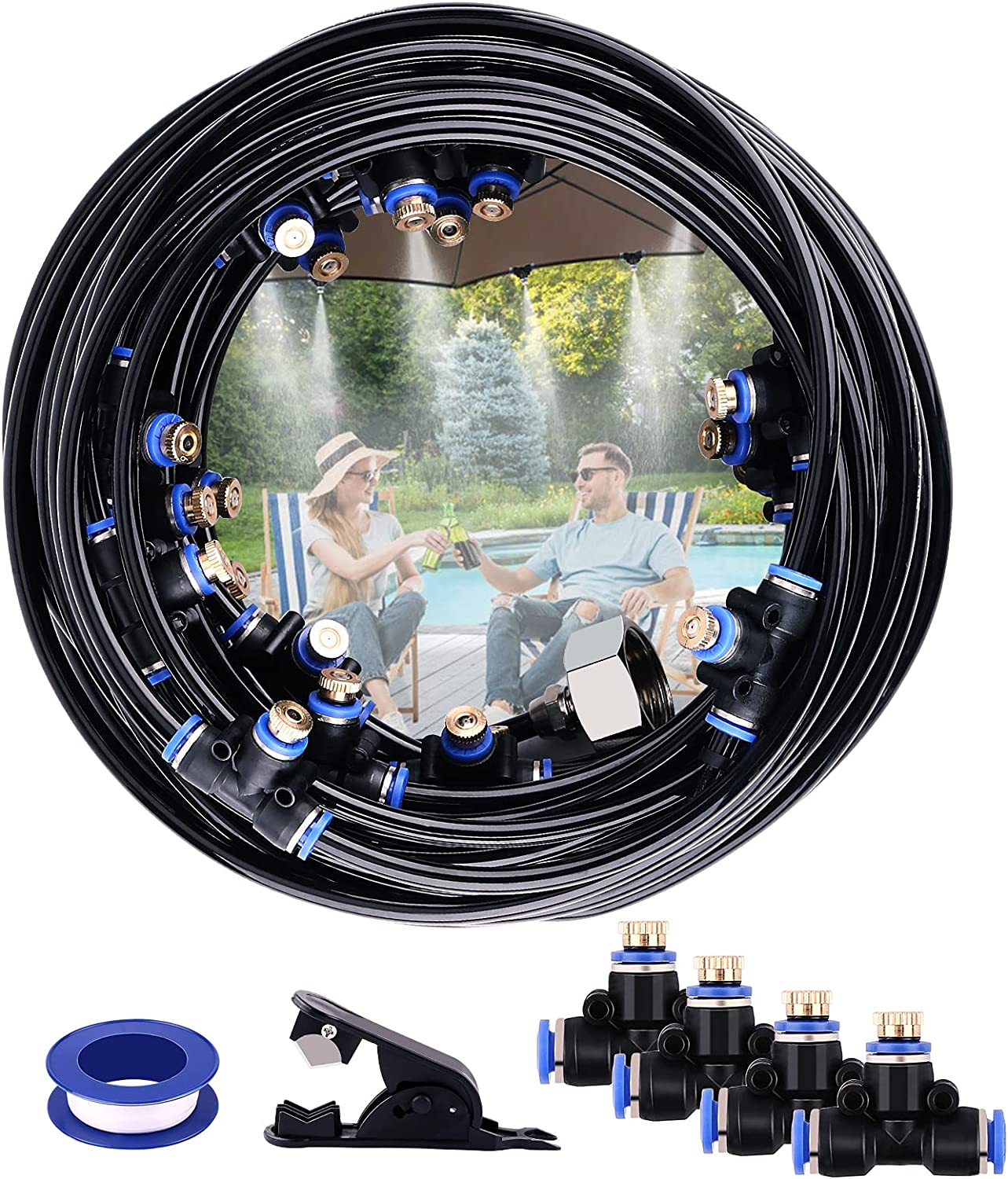AGPTEK Mist Cooling System 65.6Ft Misting Line with 23 T-Joint Mist Nozzles, 20 Cable Ties and 3/4 Inch Brass Adapter, Outdoor Misting Cooling System for Patio, Garden, Lawn, Greenhouse, Umbrellas