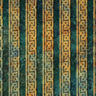 Stonehenge Solstice, 10th Anniversary Edition, Intriguing Design, Teal, Copper, Border Stripe, Northcott, 39430-69, by The Yard