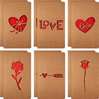 12pack romantic Kraft cards for anniversary,6 uniqueness Kraft Die Cut Designs,perfect for mom grandma birthday party cards,valentines, Appreciation and more,7X4 inches
