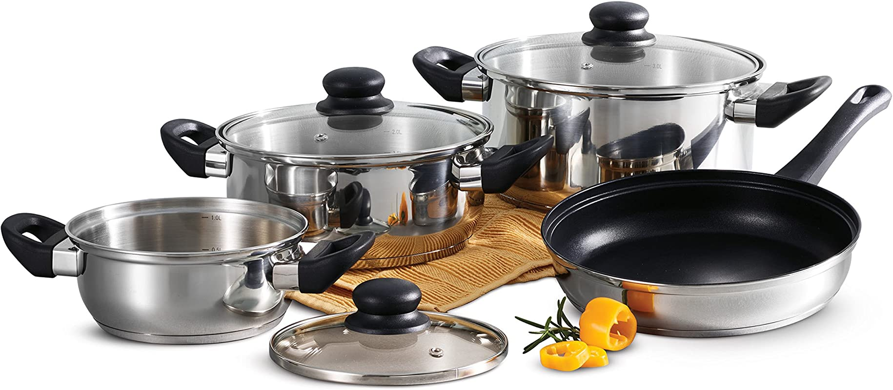Tramontina Primaware 80117 585DS Stainless Steel Induction Ready Tri Ply Base 7 Piece Cookware Set