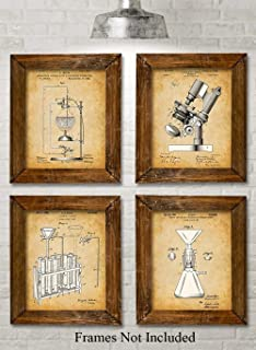 Original Science Lab Equipment Patent Prints - Set of Four Photos (8x10) Unframed - Makes a Great Gift Under $20 for Scientists or Inventors