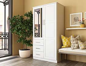 "Metro Solid Pine Wood Wardrobe/Armoire/Closet with Mirror and 3 Drawers 7101 White by Palace Imports, 38""w x 21""d x 72""h. Optional Additional Shelves Sold Separately. Requires Assembly."