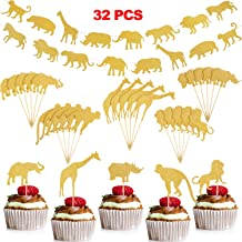 30 Pieces Woodland Animal Cupcake Toppers Cake Decorations and 2 Pieces Gold Glitter Animal Banner Jungle Safari Zoo Garland for Baby Showers Wedding Birthday Party Supplies