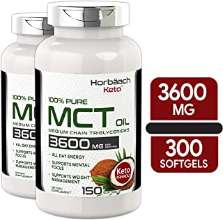 Keto MCT Oil Capsules | 3600 mg 300 Softgels | Coconut Oil Pills | Twin Pack | Non-GMO, Gluten Free | by Horbaach