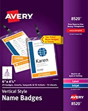 Avery Vertical Name Badges, Durable Plastic Holders, Lanyards, 6 x 4-1/4, 25 Badges (8520)